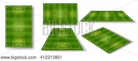 Football Field. Soccer Pitch Scheme Top, Side And Perspective View. Realistic European Football Cour