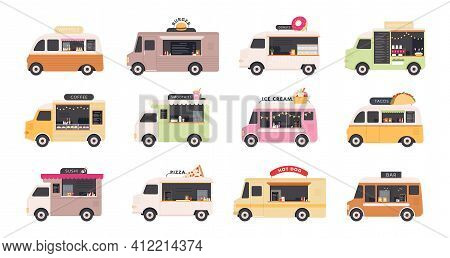 Food Trucks. Van Cars Selling Street Fast Foods, Pizza, Burger, Coffee, Donut And Ice Cream. Restaur
