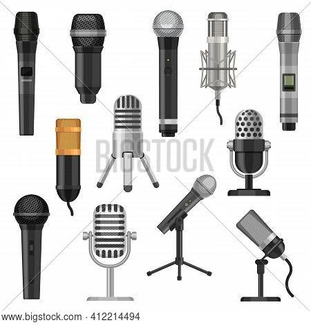 Cartoon Studio Microphones. Broadcast, Voice And Music Audio Recording Equipment. Karaoke Mic And Vi