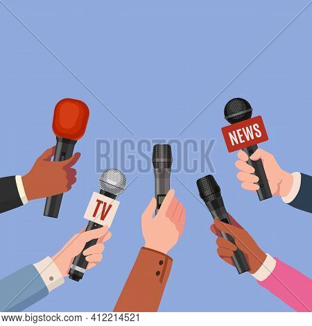 Journalist Hands With Microphones. Reporters With Mics Take Interview For News Broadcast, Press Conf