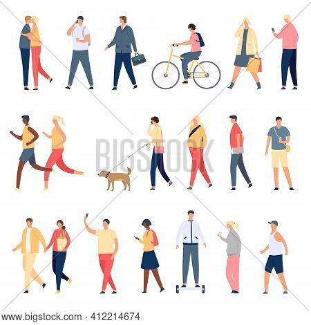 People Walk. Flat Characters Walking With Dog Outdoor, Riding Bicycle And Hoverboard And Running. Me