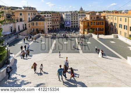Rome, Italy - October 10, 2020: View Of The From Spanish Steps On Spanish Square (piazza Di Spagna)