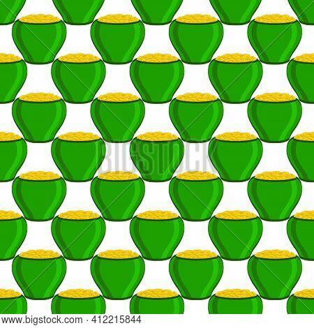 Illustration On Theme Irish Holiday St Patrick Day, Seamless Pot Of Coins. Pattern St Patrick Day Of