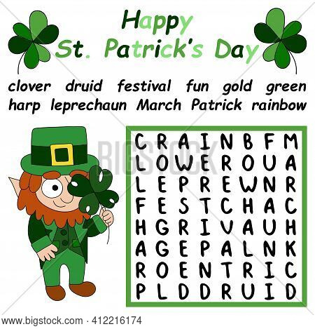 Work Search Puzzle With Leprechaun Stock Vector Illustration. Help The Leprechaun To Solve The Puzzl