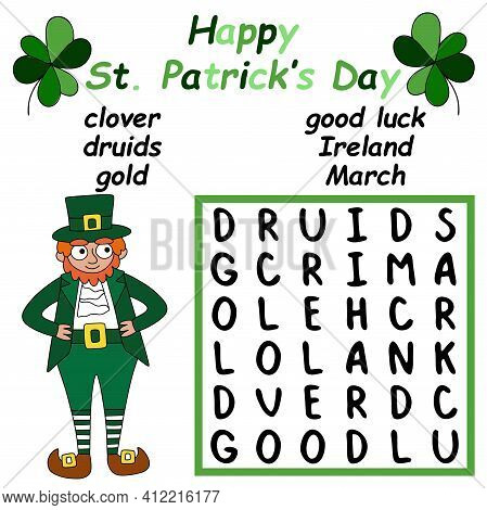 Help The Leprechaun To Find And Mark All Hidden Words Stock Vector Illustration. Patrick's Day Word