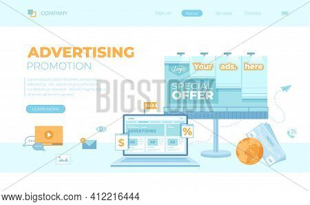 Advertising Outdoor And Online. Billboard, Newspaper With Offers, Discounts And Laptop With Social M
