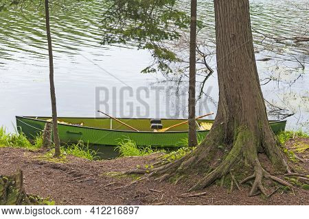 Canoe Waiting On A Wilderness Lake In The Sylvania Wilderness In Michigan