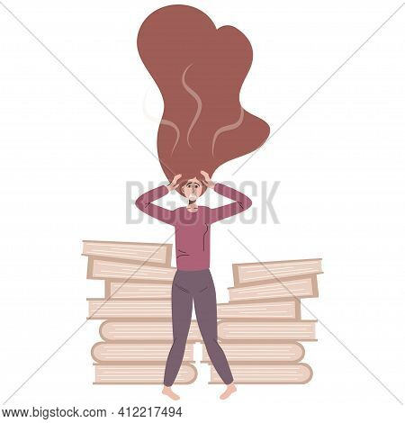 Stress At Work. Burnout And Fatigue From Paperwork And Problems. The Employee Grabs His Head From A