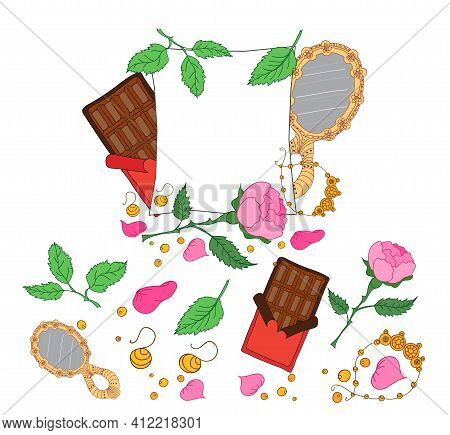 Beauty Woman Cute Accessory Style Background. Cosmetic Fashion Toiletry Set. Vector Cartoon Illustat