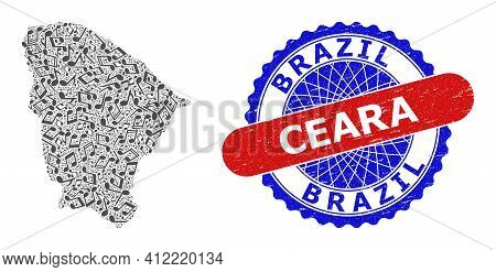 Musical Pattern For Ceara State Map And Bicolor Distress Rubber Stamp