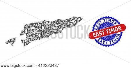 Music Notation Mosaic For East Timor Map And Bicolor Scratched Stamp Badge
