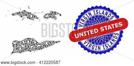 Musical Collage For American Virgin Islands Map And Bicolor Distress Stamp