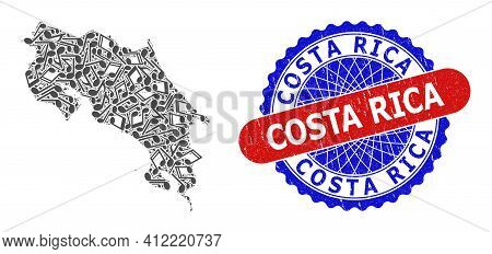 Music Mosaic For Costa Rica Map And Bicolor Scratched Seal Stamp