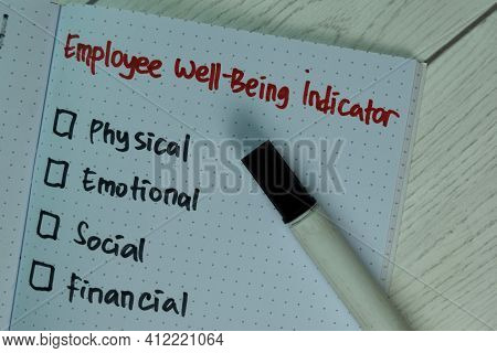 Employee Well-being Indicator Write On A Book And Supported By An Additional Services Isolated On Wo