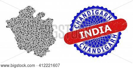 Music Notation Mosaic For Chandigarh City Map And Bicolor Scratched Rubber Stamp