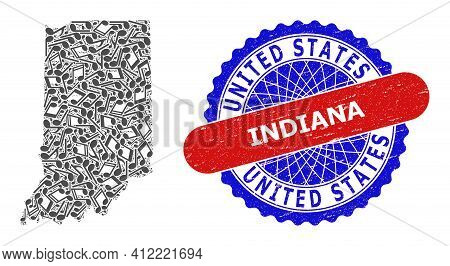 Music Notation Collage For Indiana State Map And Bicolor Distress Stamp