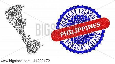 Music Notation Pattern For Boracay Island Map And Bicolor Distress Stamp Badge