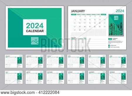 Calendar 2024 Template Vector, Happy New Year 2024, Set Desk Calendar 2024, Planner Modern Style, Wa