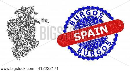 Music Notation Mosaic For Burgos Province Map And Bicolor Scratched Rubber Stamp