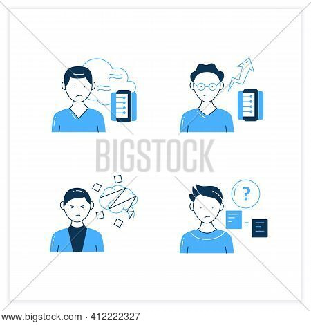 Information Overload Flat Icons Set. Consists Of Cognitive Dissonance, Comparative Research Method,