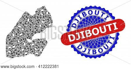 Music Notation Collage For Djibouti Map And Bicolor Grunge Seal
