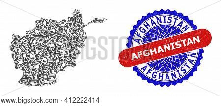 Music Notation Mosaic For Afghanistan Map And Bicolor Distress Stamp