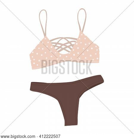 Flat Vector Illustration Of Women's Swimsuit. Fashionable Women's Swimsuit With Brown Panties And Po