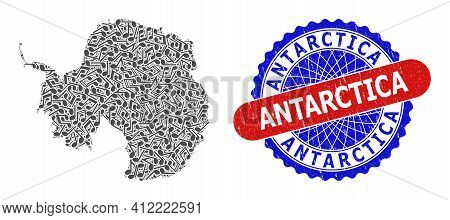 Melody Notes Collage For Antarctica Continent Map And Bicolor Textured Seal