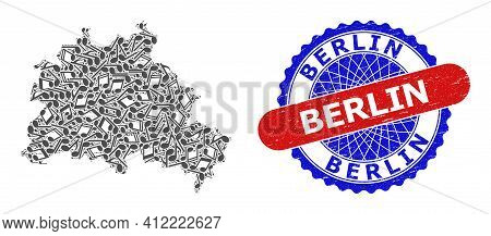 Music Notation Pattern For Berlin City Map And Bicolor Grunge Seal Stamp