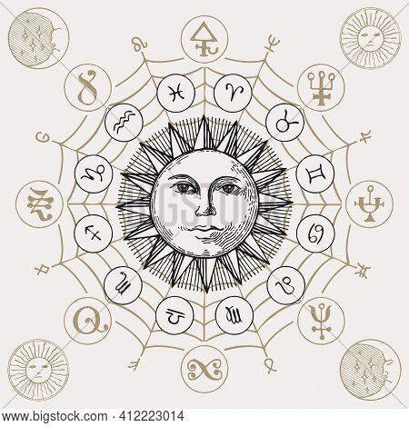Vector Circle Of Zodiac Signs With Icons, Esoteric Symbols And Hand-drawn Sun On An Old Paper Backgr