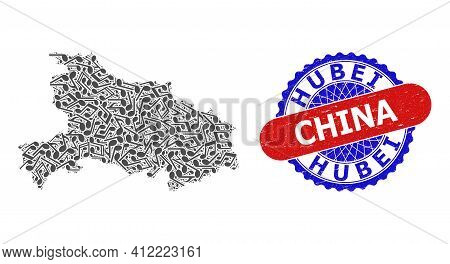 Melody Notes Pattern For Hubei Province Map And Bicolor Distress Rubber Stamp