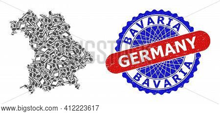 Music Pattern For Bavaria Land Map And Bicolor Scratched Rubber Stamp