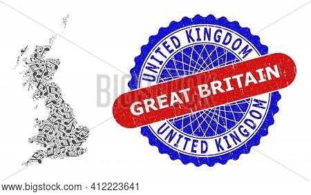Music Notation Mosaic For Great Britain Map And Bicolor Distress Stamp