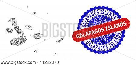 Music Notation Pattern For Galapagos Islands Map And Bicolor Textured Rubber Stamp