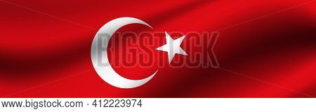 Banner With The Flag Of Turkey. Fabric Texture Of The Flag Of Turkey.