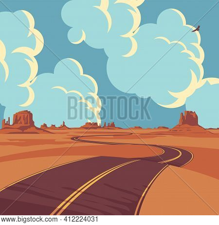 Summer Landscape With An Empty Winding Road In The Desert With Mountains And Clouds In Blue Sky. Dec