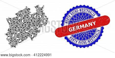 Music Mosaic For North Rhine-westphalia Land Map And Bicolor Scratched Stamp Badge