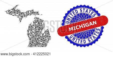 Music Notation Pattern For Michigan State Map And Bicolor Distress Stamp Badge