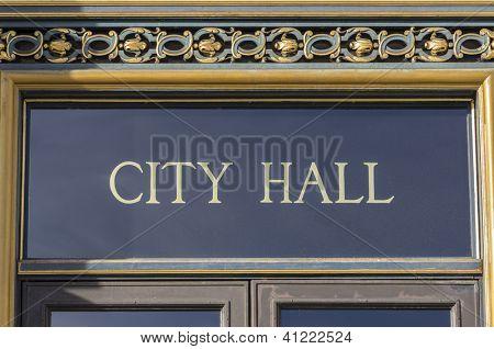 City Hall sign in San Francisco, California.