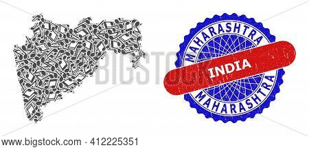 Music Notation Collage For Maharashtra State Map And Bicolor Grunge Seal