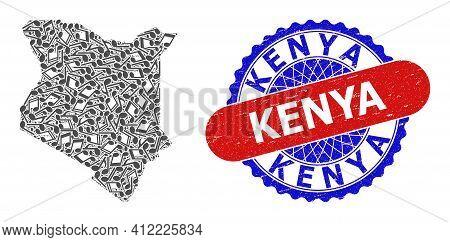 Melody Notes Mosaic For Kenya Map And Bicolor Distress Stamp Badge