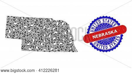 Music Notation Mosaic For Nebraska State Map And Bicolor Textured Stamp