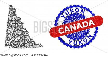 Music Notation Collage For Yukon Province Map And Bicolor Scratched Seal