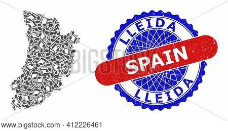 Musical Collage For Lleida Province Map And Bicolor Textured Stamp