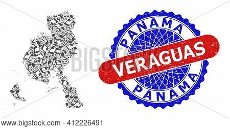 Music Notation Pattern For Veraguas Province Map And Bicolor Distress Stamp