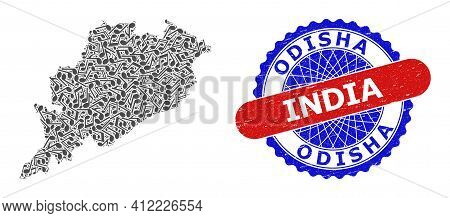 Melody Notes Collage For Odisha State Map And Bicolor Textured Rubber Stamp
