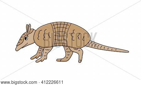 Vector Cute Brown Doodle Armadillo. Cartoon Animal Mammal Is Going To Somewhere, Is Isolated On Whit