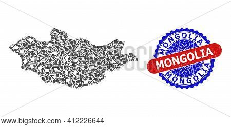 Music Notation Pattern For Mongolia Map And Bicolor Textured Seal Stamp