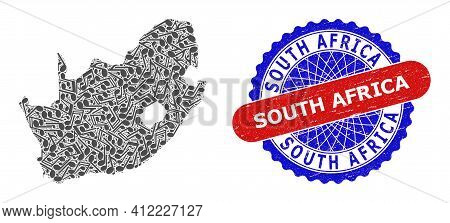 Melody Notes Mosaic For South African Republic Map And Bicolor Textured Seal
