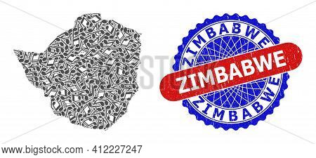Musical Pattern For Zimbabwe Map And Bicolor Textured Stamp